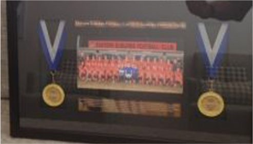 Dr Stamatiou was very honoured to be presented with this beautiful memento from his sponsored team.